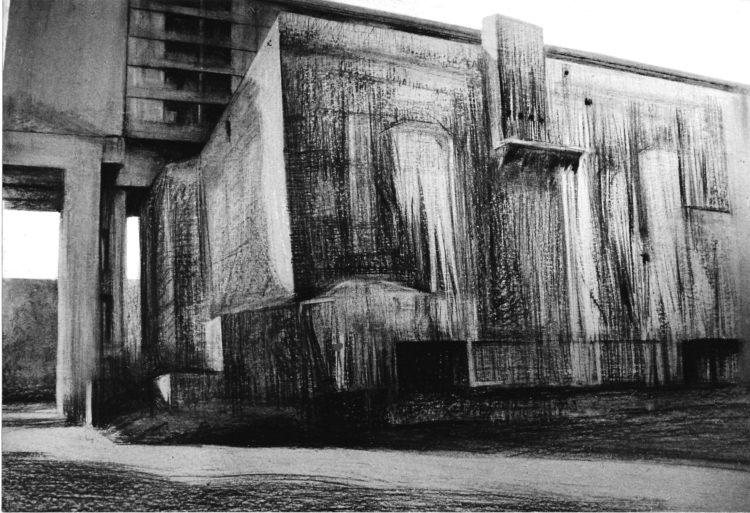 Bunker, Pallasstrasse Berlin 1982 | 70 / 100cm, Kohlezeichnung / Karton