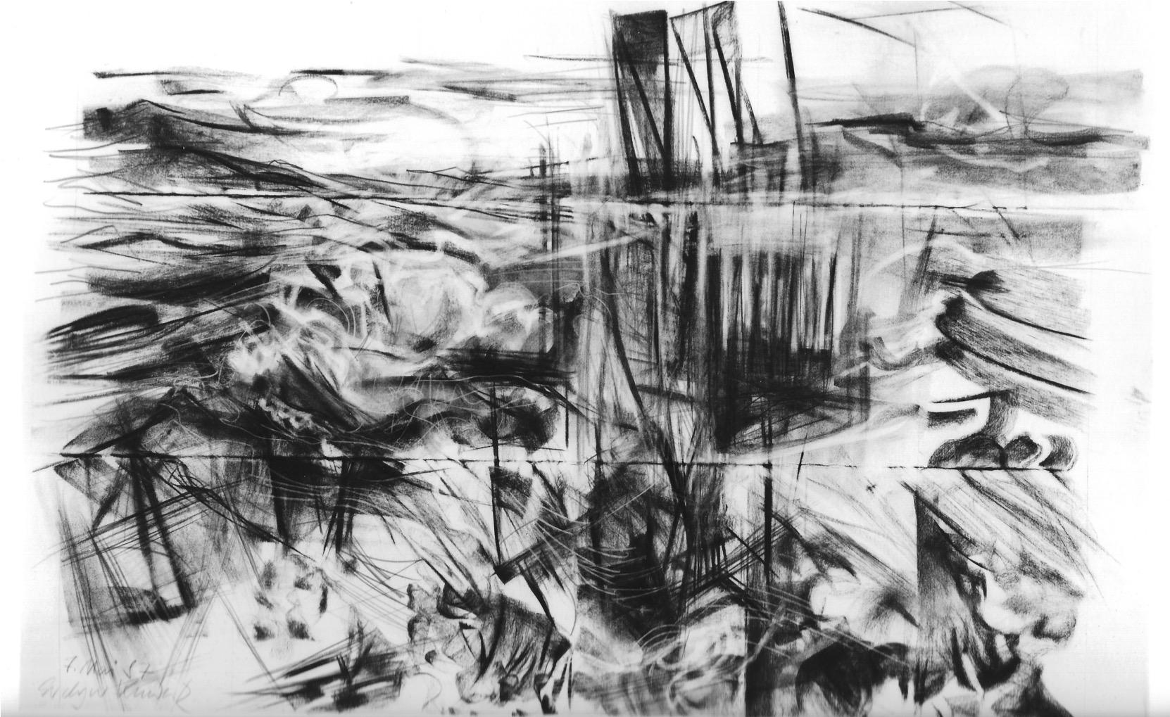 Helgoland 1987 | Studie, 60 / 100 cm, Kohlezeichnung / Bütten