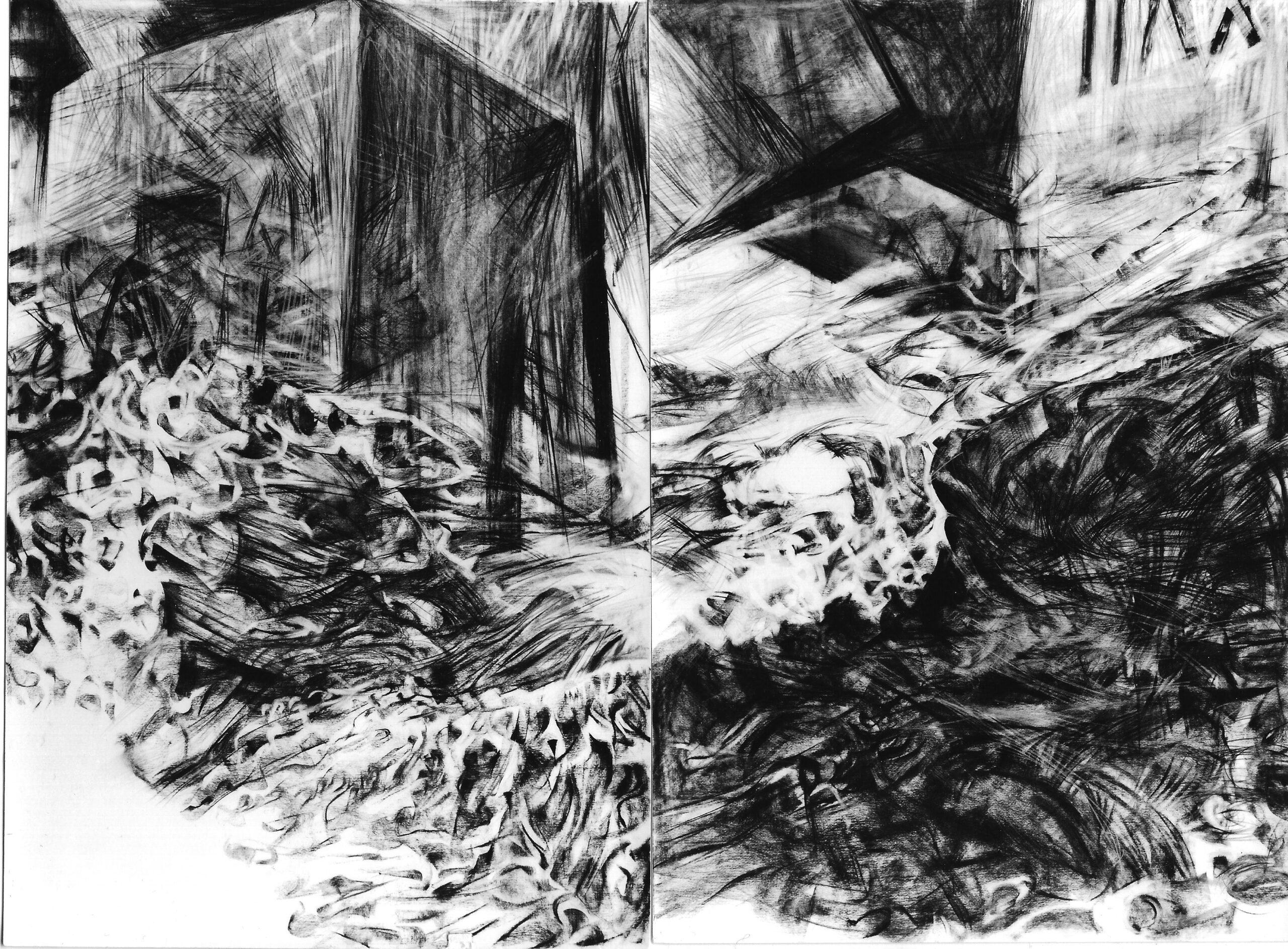 Helgoland 1987 | 8 Teile, 240 / 320 cm, 4 Ausschnitte, je 120 / 80cm, Kohlezeichnung /Bütten