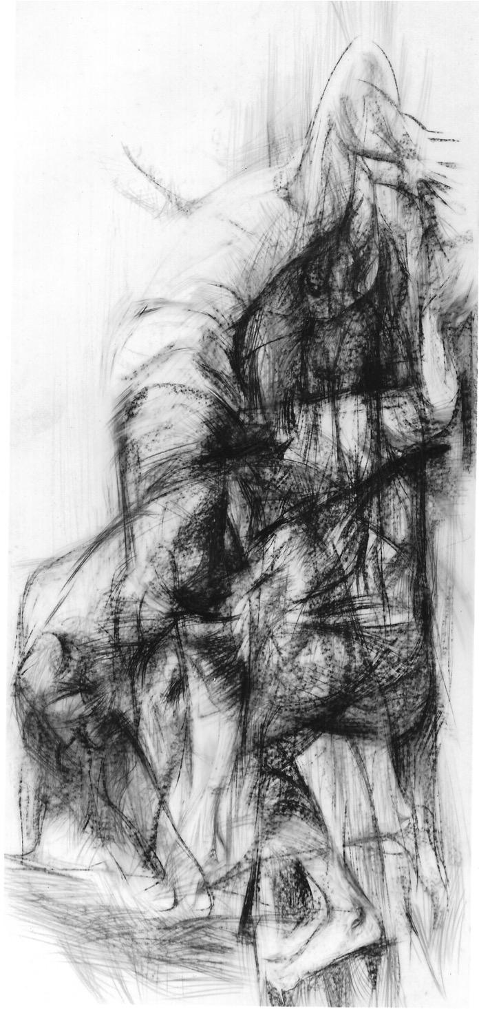 Slow Motion 1986 | 200 / 100cm, Kreiden / Transparentpapier
