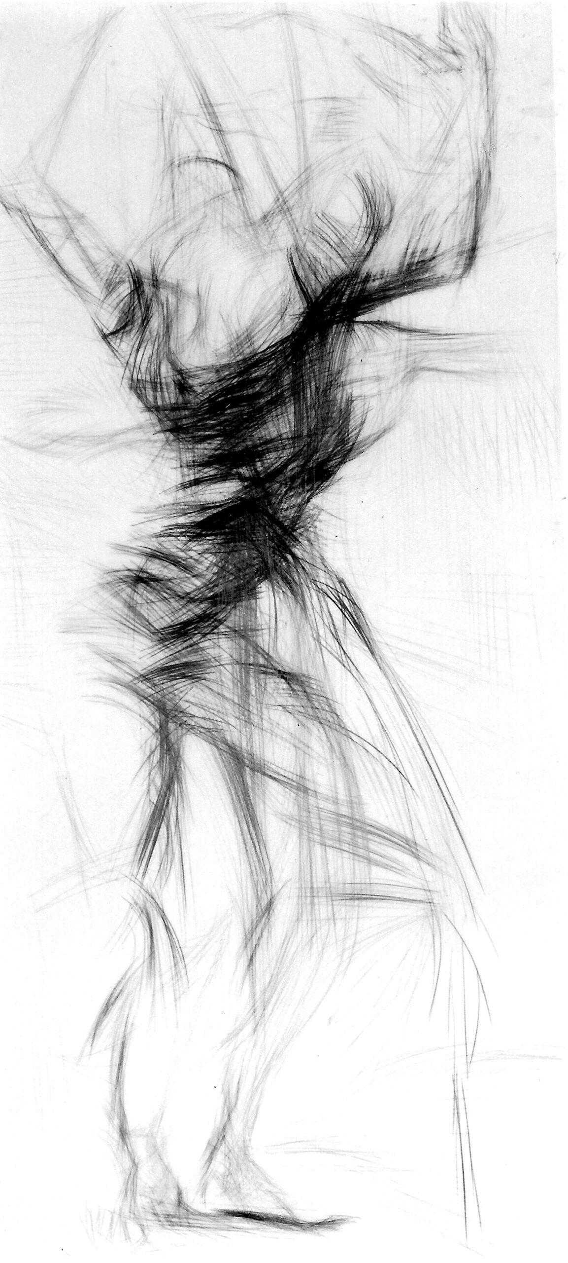 Slow Motion 1986 | 200 / 100cm, Bleistift / Transparentpapier