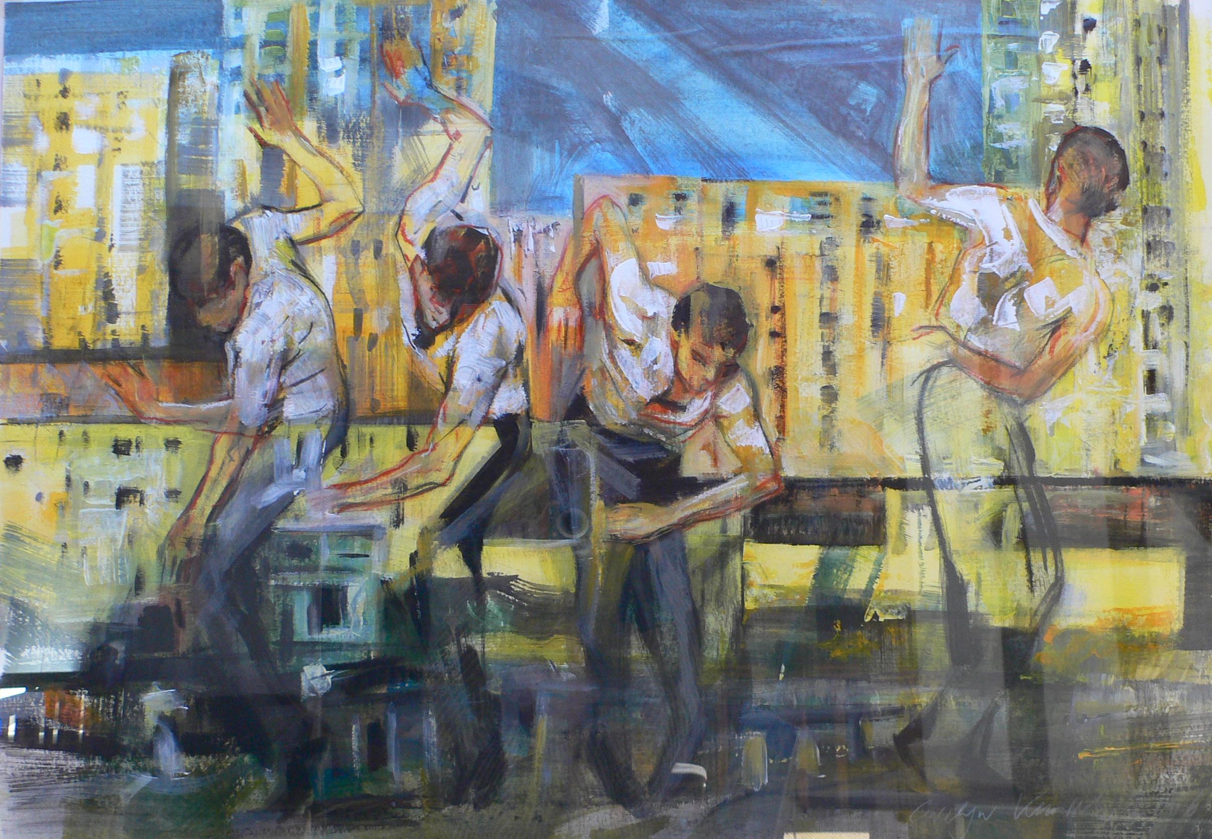 Mouvement 2013   70 / 100cm, Kreiden, Öl / T.-papier