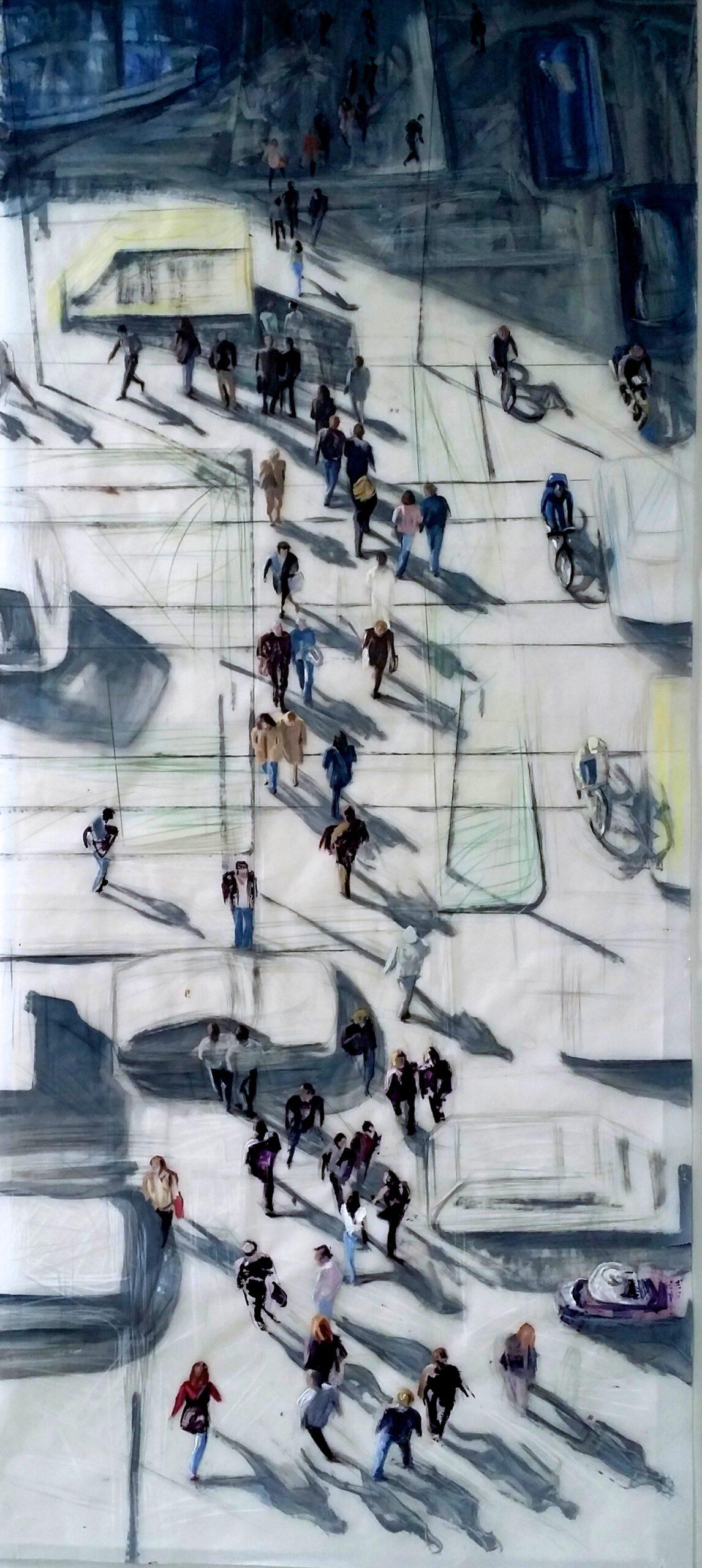 Mouvement Ville 2015   175 / 75cm, Buntstifte, Öl / Transparentpapier