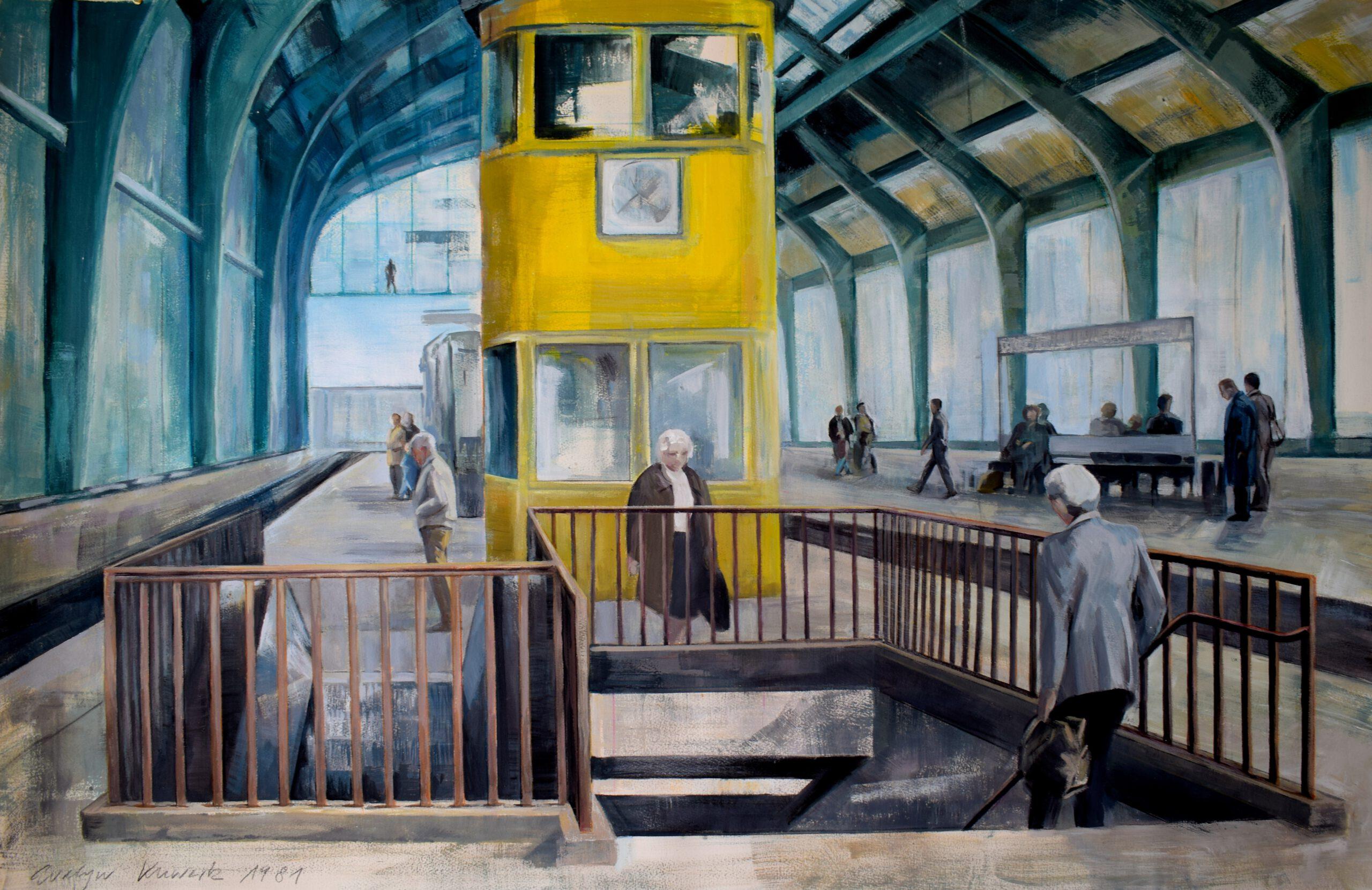 Bahnhof Friedrichstrasse 1980 | 80 / 120cm, Acryl / Papier Bütten