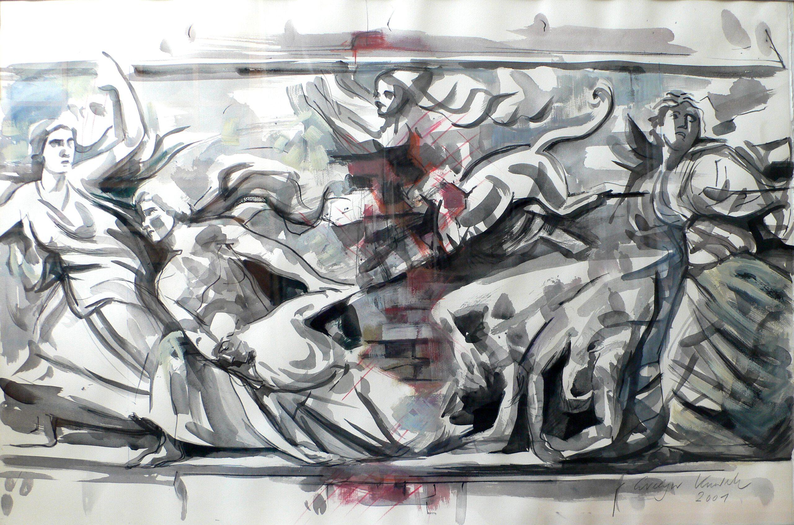 Neues Museum 1999 | 180 / 90cm, Tempera, Öl / Leinwand