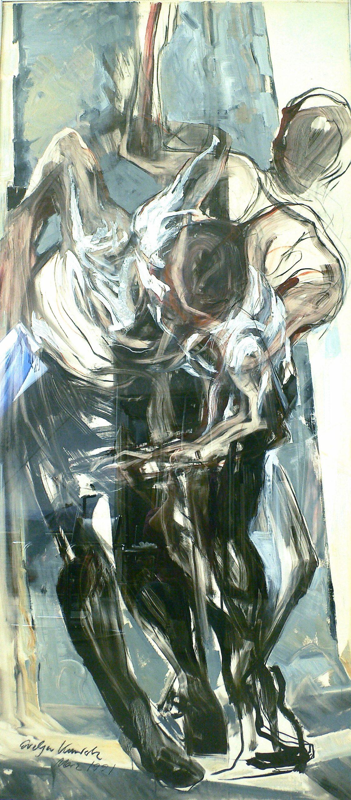 Bewegung 1991   200 / 90cm, Öl / Transparentpapier