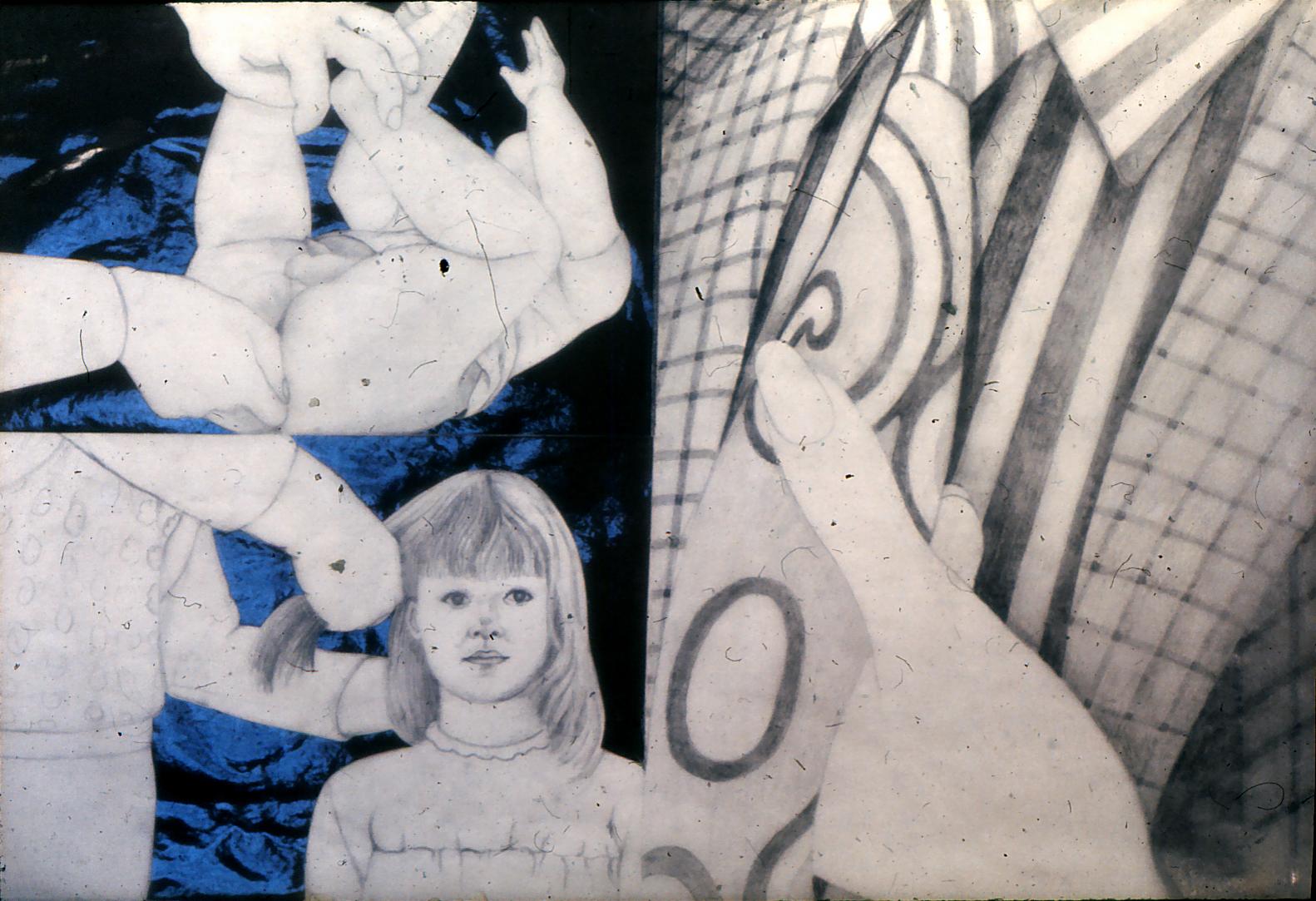 Zeichnung, Malerei, Collagen auf Papier / Karton