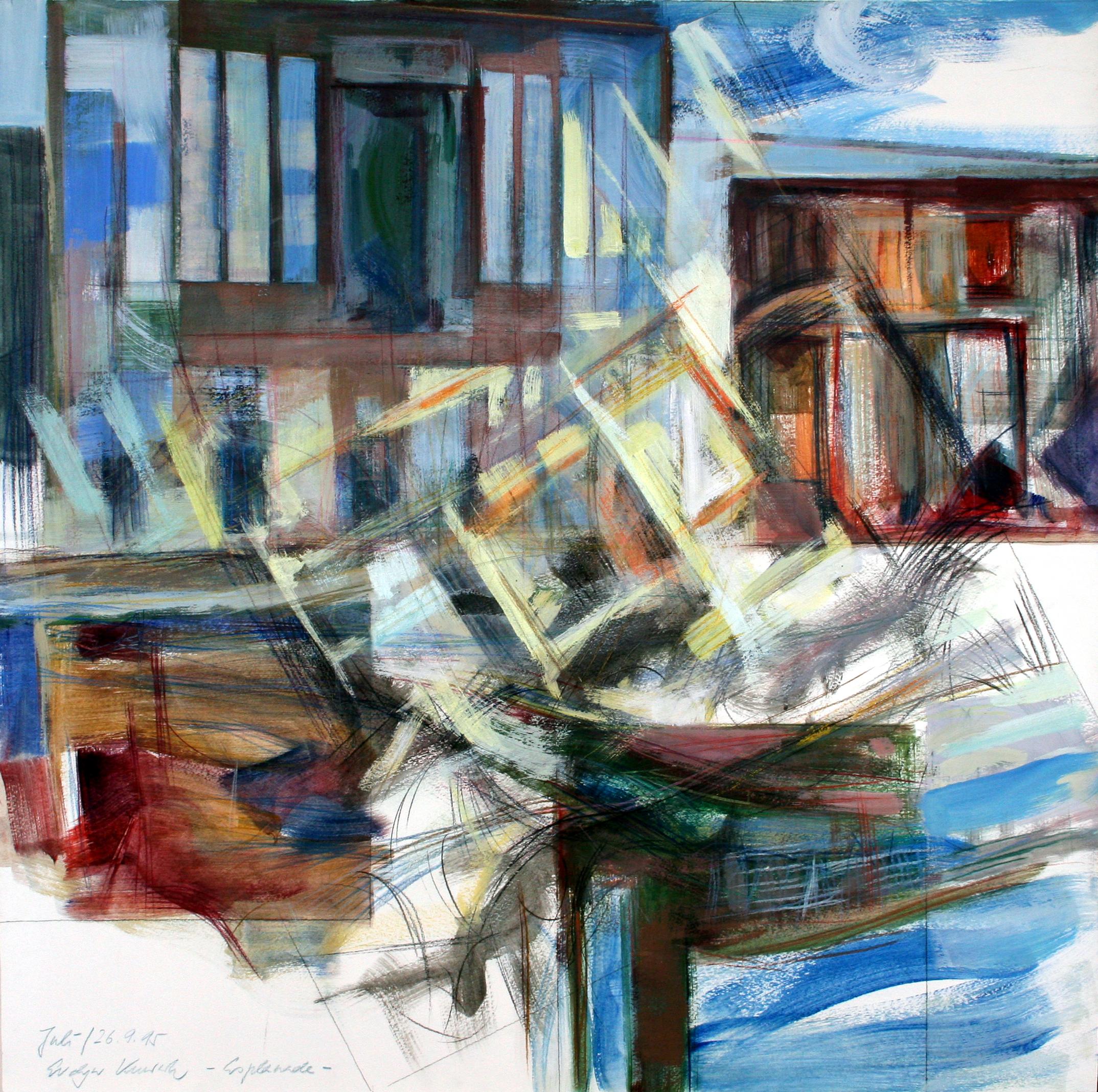 Esplanade 1993 | 100 / 100cm, Tempera / Papier