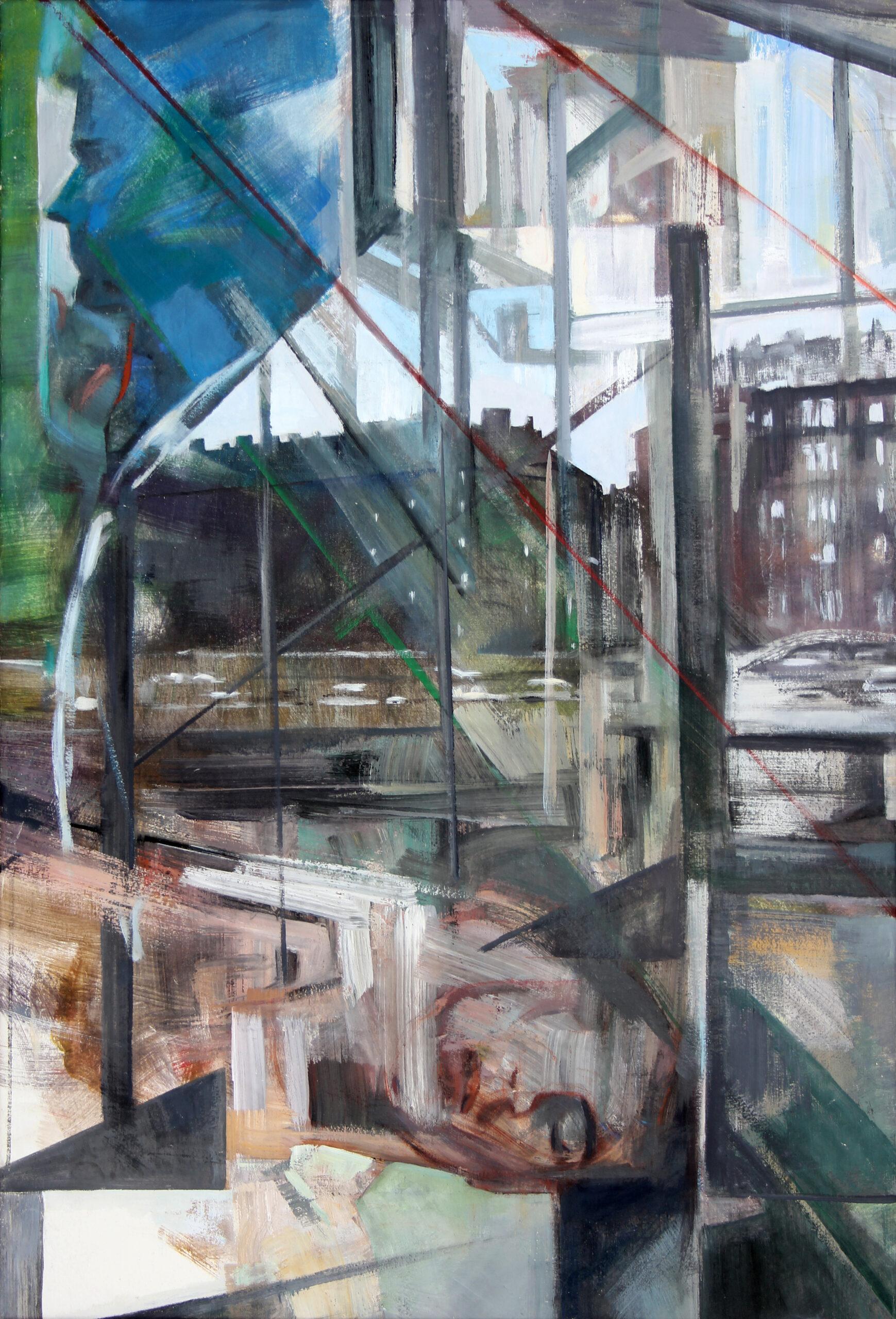 Bewegung Stadt 1994   100 / 80cm, Tempera, Öl / Leinwand