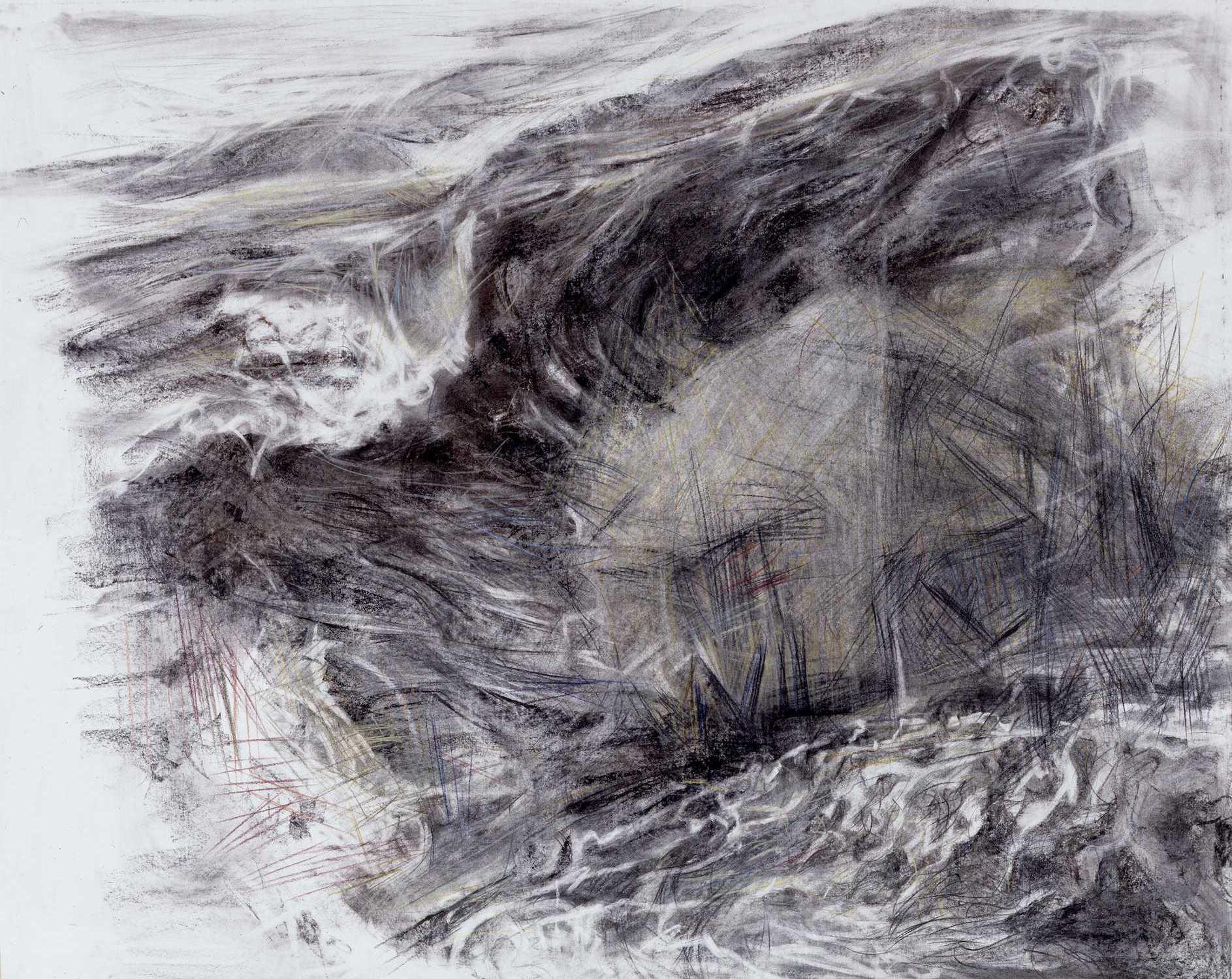 Helgoland - Seestück 1987, 100 / 120cm, Kohle, Buntstifte / Bütten