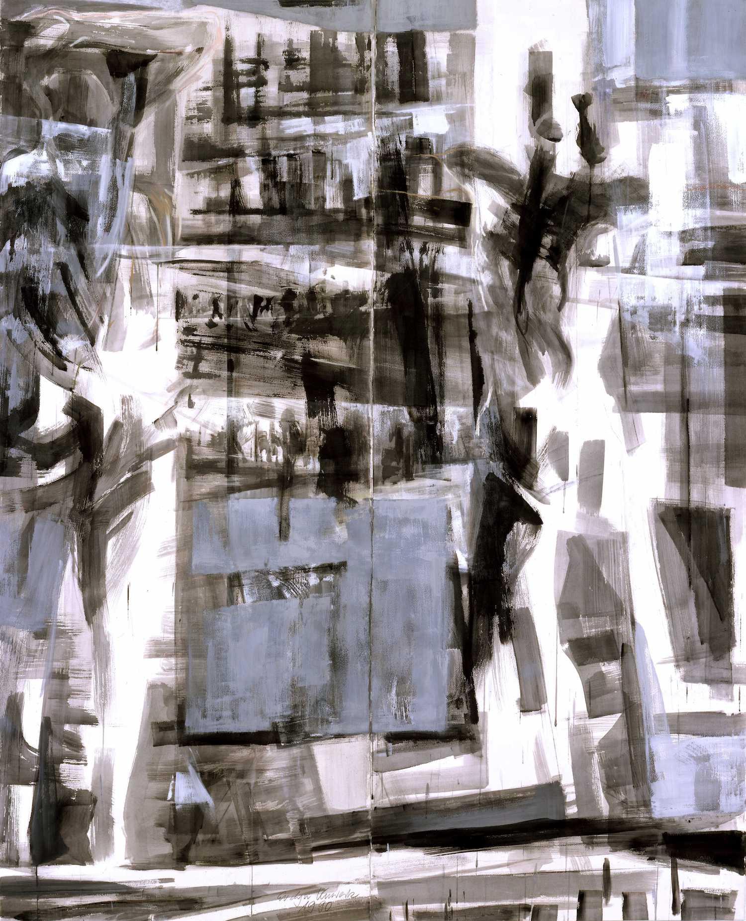 Bewegung 1990, 2-teilig, 180 / 150cm, Gouache / Bütten