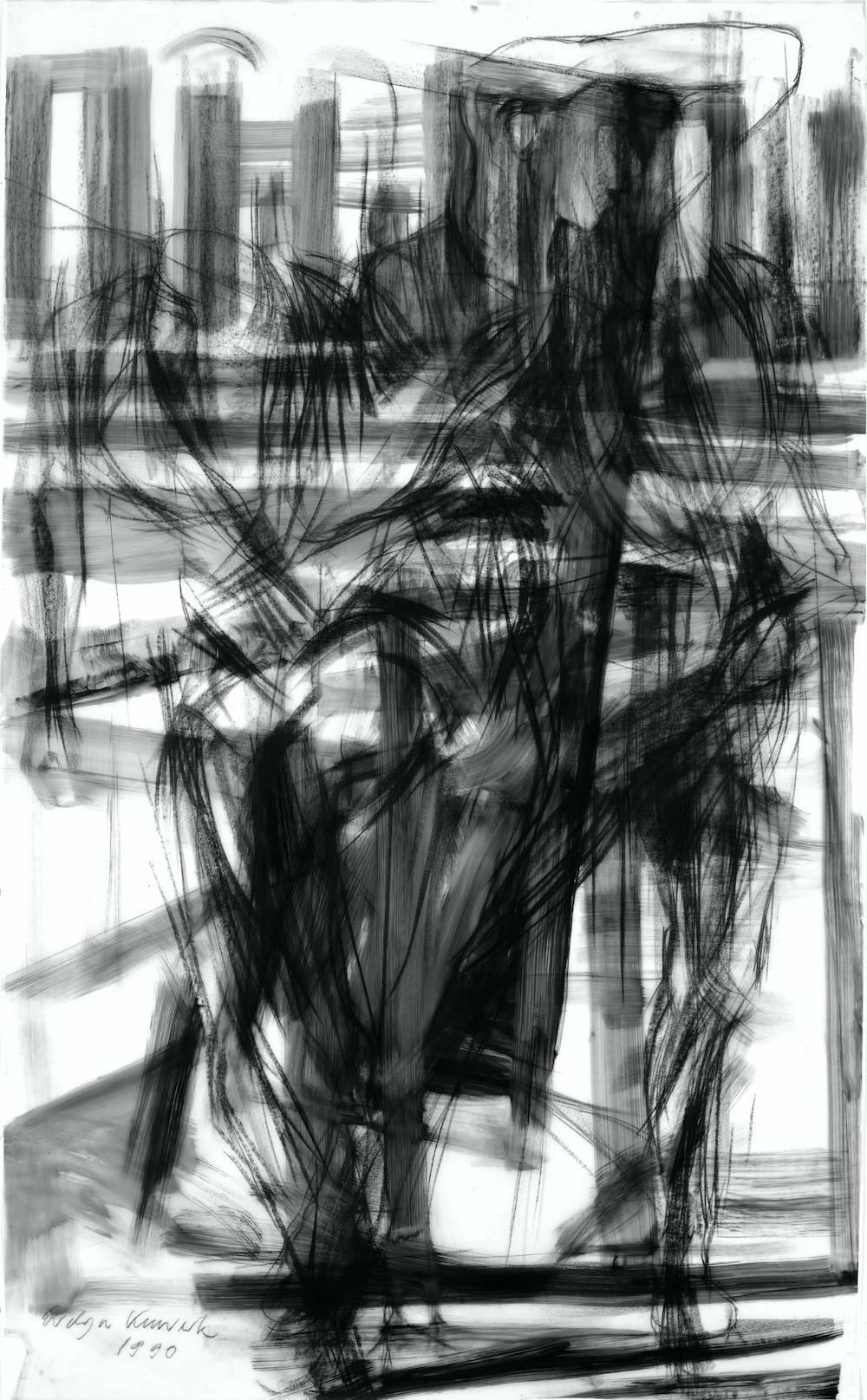 Bewegung 1990, 160/100 cm, Kreidezeichnung auf Transparentpapier