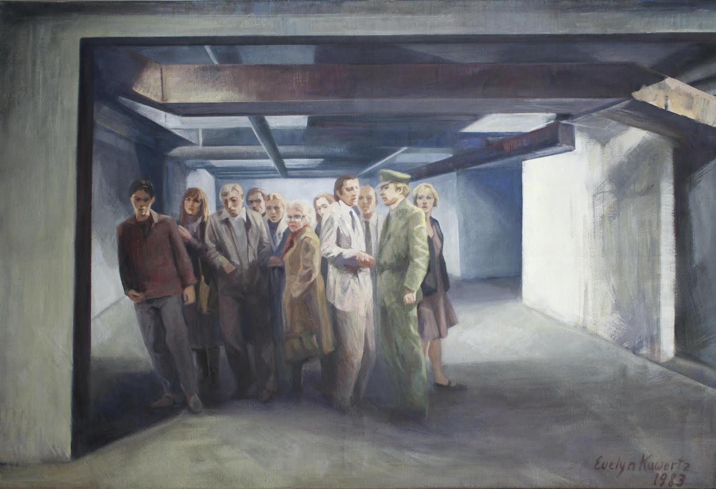 Atombunker - Kudammkarree Berlin 1984, 100 / 140cm, Tempera, Öl / Leinwand