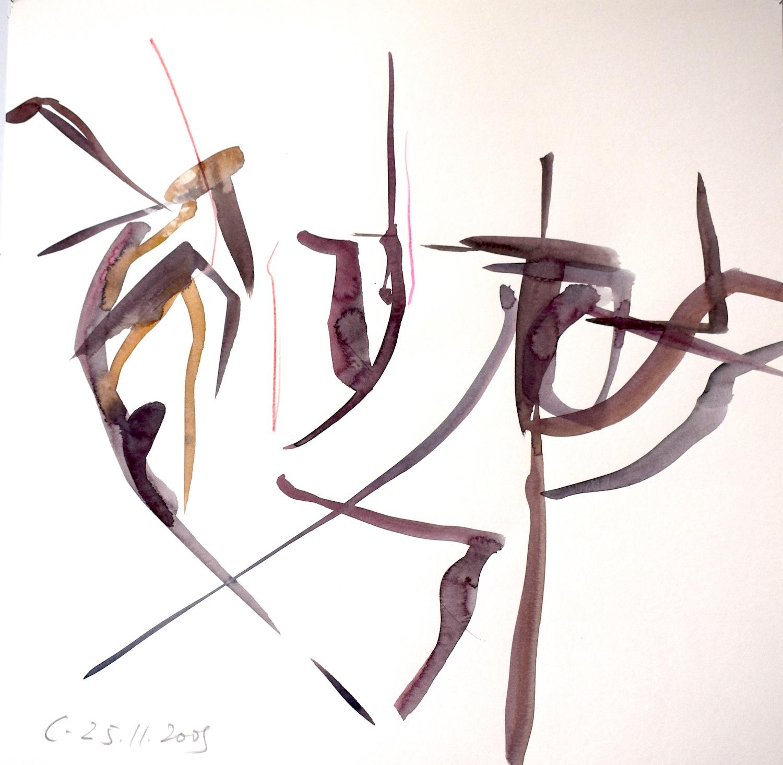 Répétition 25.11.2008, 40 / 40cm, Aquarell / Papier
