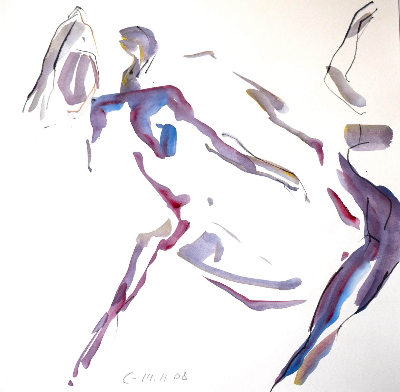 Répétition 14.11.2008, 40 / 40cm, Aquarell / Papier