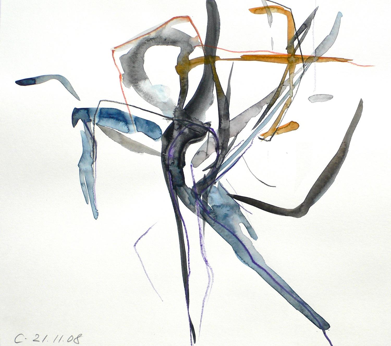 Répétition 21.11.2008, 40 / 40cm, Aquarell / Papier