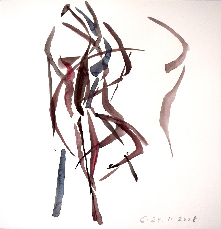 Répétition 24.11.2008, 40 / 40cm, Aquarell / Papier