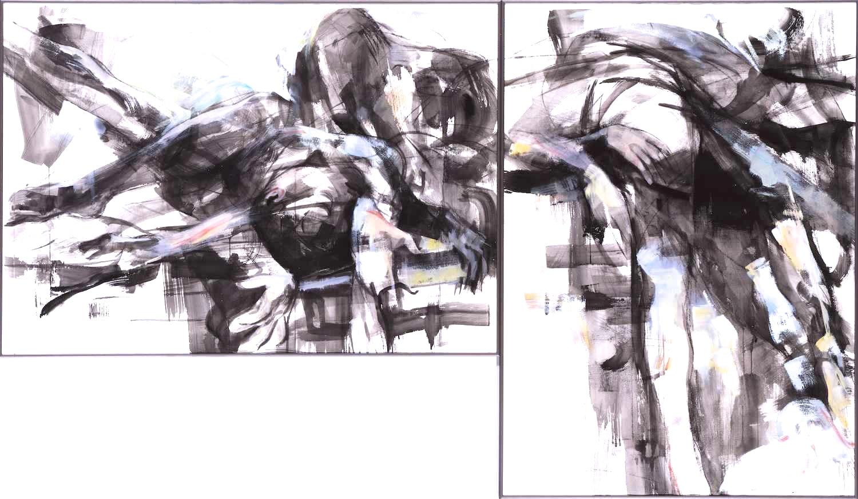Slowmotion 1989, 2-teilig, 110 / 175cm, Kohle, Aquarell, Acryl / Bütten