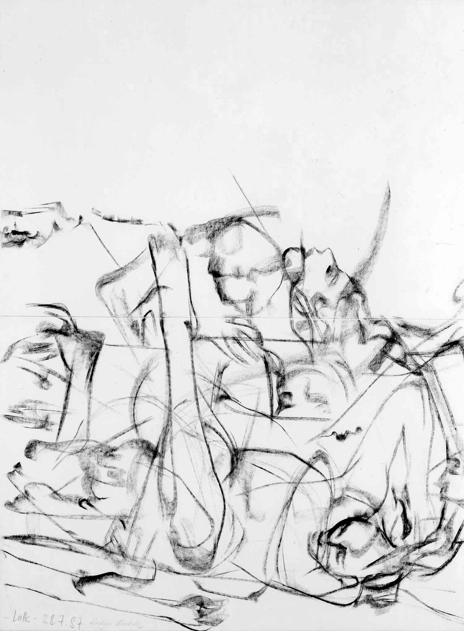 Slowmotion 1987, 160 / 120cm, Kohle / Bütten